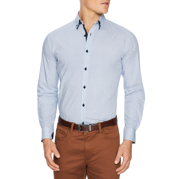 Fashion 4 Men - Tarocash Keats Geo Print Shirt Blue M