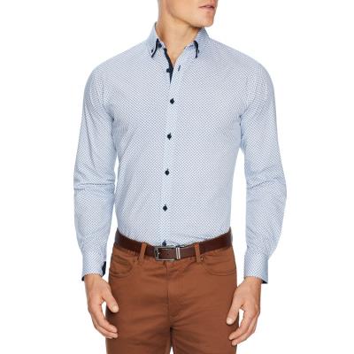 Fashion 4 Men - Tarocash Keats Geo Print Shirt Blue Xxl