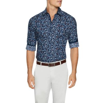 Fashion 4 Men - Tarocash Kellaway Paisley Print Shirt Navy L