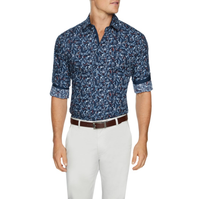 Fashion 4 Men - Tarocash Kellaway Paisley Print Shirt Navy Xxl