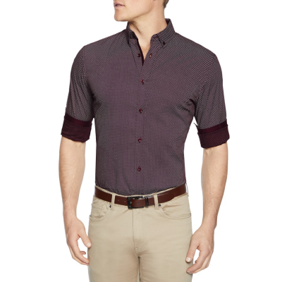 Fashion 4 Men - Tarocash Knight Print Shirt Burgundy Xl