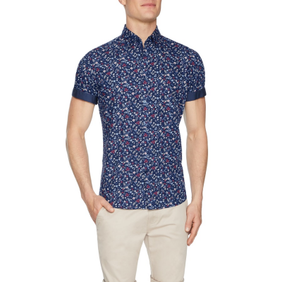 Fashion 4 Men - Tarocash Liberation Floral Print Shirt Navy M