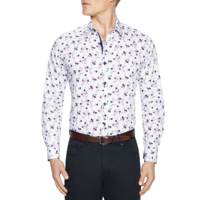 Fashion 4 Men - Tarocash Lionel Floral Print Shirt White M