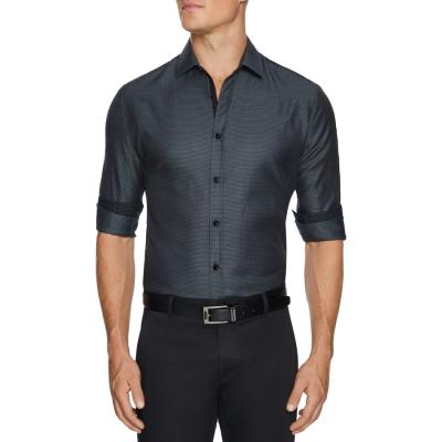 Fashion 4 Men - Tarocash Lumley Slim Textured Shirt Charcoal Xl