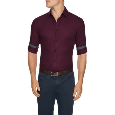 Fashion 4 Men - Tarocash Luther Slim Textured Shirt Burgundy Xs