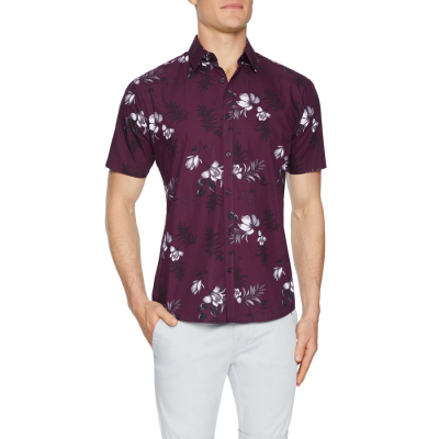 Fashion 4 Men - Tarocash Mimosa Floral Print Shirt Burgundy Xxl