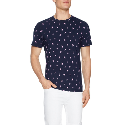 Fashion 4 Men - Tarocash Mini Palm Print Tee Navy Xs