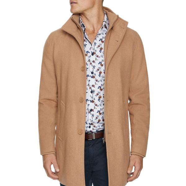 Fashion 4 Men - Tarocash Northfield Wool Blend Coat Camel M