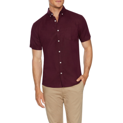 Fashion 4 Men - Tarocash Peterson Linen Blend Shirt Burgundy Xxxl