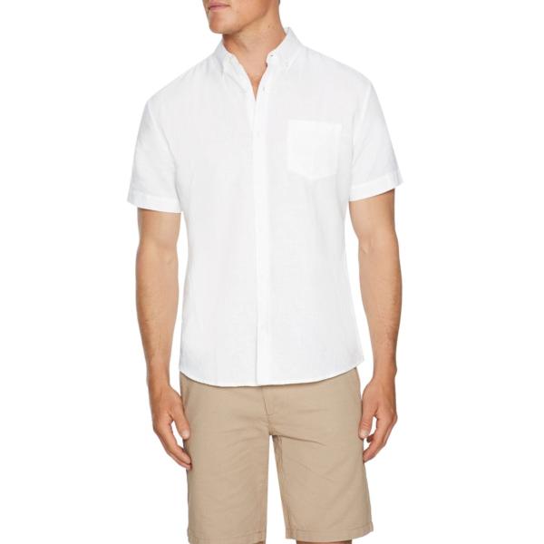 Fashion 4 Men - Tarocash Peterson Linen Shirt White Xl