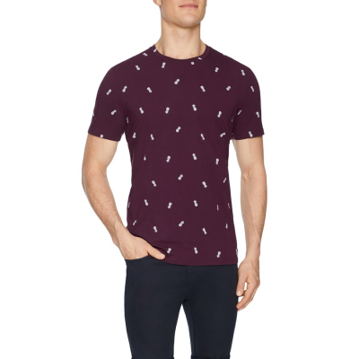 Fashion 4 Men - Tarocash Pina Colada Print Tee Burgundy Xxl