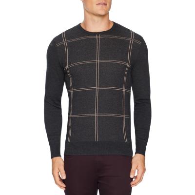 Fashion 4 Men - Tarocash Preston Check Knit Charcoal Xxxl