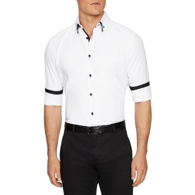 Fashion 4 Men - Tarocash Rocky Slim Textured Shirt White Xs