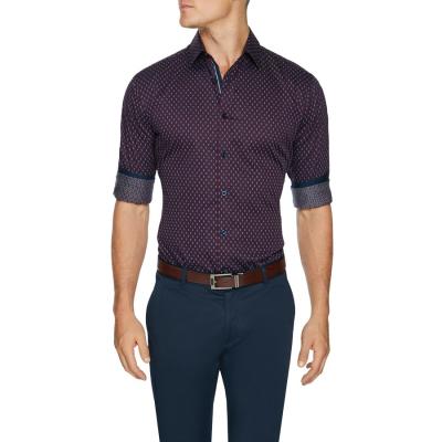 Fashion 4 Men - Tarocash Rosford Slim Geo Shirt Aubergine L