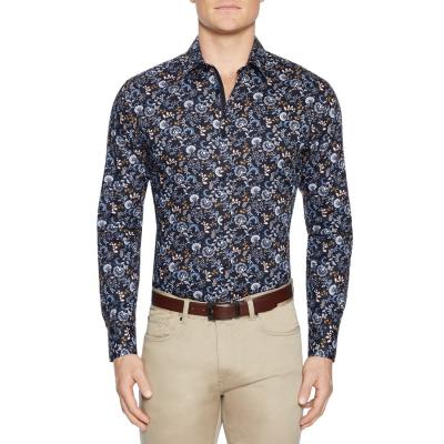 Fashion 4 Men - Tarocash Ruse Slim Floral Print Shirt Navy Xxl