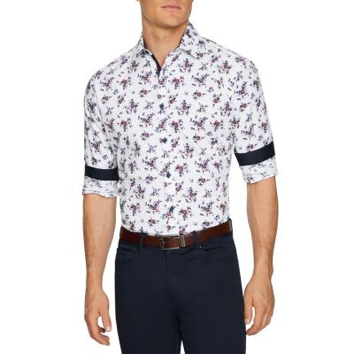 Fashion 4 Men - Tarocash Savi Slim Print Shirt White S