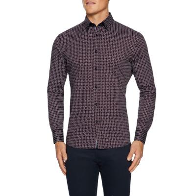Fashion 4 Men - Tarocash Smith Slim Stretch Geo Shirt Burgundy Xxxl