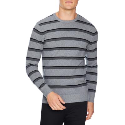Fashion 4 Men - Tarocash Thornbury Stripe Knit Silver S