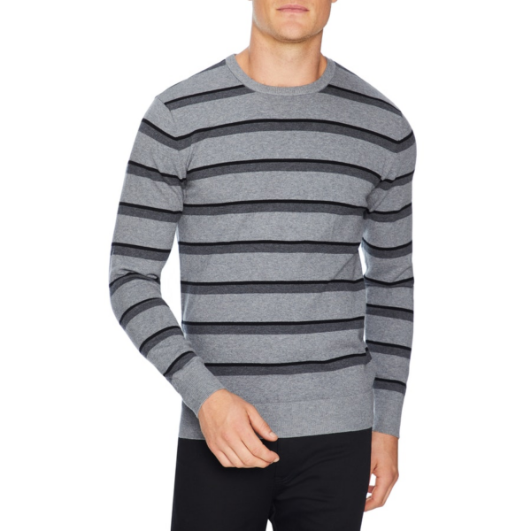 Fashion 4 Men - Tarocash Thornbury Stripe Knit Silver Xxl
