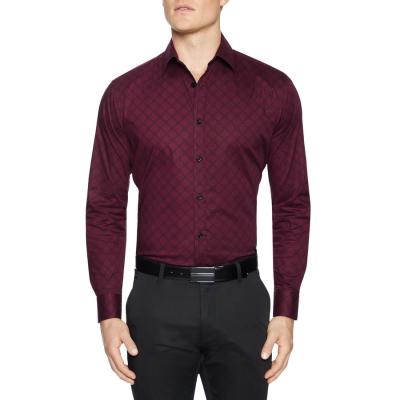 Fashion 4 Men - Tarocash Tierney Slim Stretch Geo Shirt Burgundy Xxxl