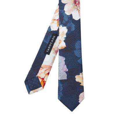 Fashion 4 Men - Tarocash Watson Silk Floral Tie Navy 1