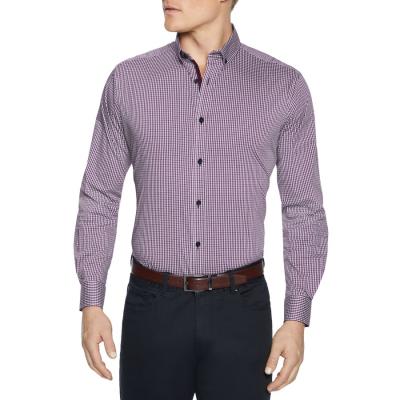 Fashion 4 Men - Tarocash York Stretch Check Shirt Burgundy 4 Xl