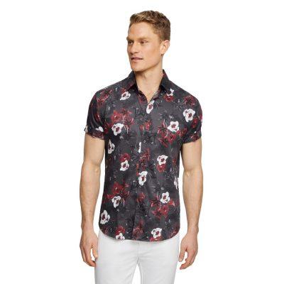 Fashion 4 Men - Tarocash Alpha Floral Print Shirt Charcoal Xxl