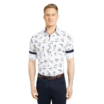Fashion 4 Men - Tarocash Amico Slim Stretch Floral Shirt White Xs