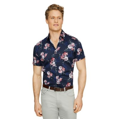 Fashion 4 Men - Tarocash Aston Stretch Floral Shirt Navy Xxl