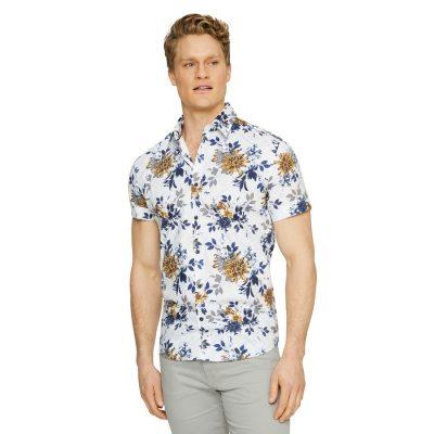 Fashion 4 Men - Tarocash Belair Stretch Floral Print Shirt Mustard S