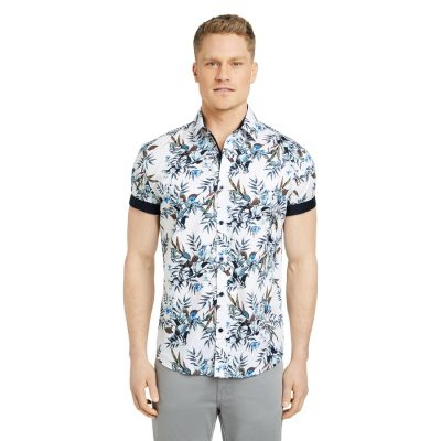 Fashion 4 Men - Tarocash Benz Floral Print Shirt White L