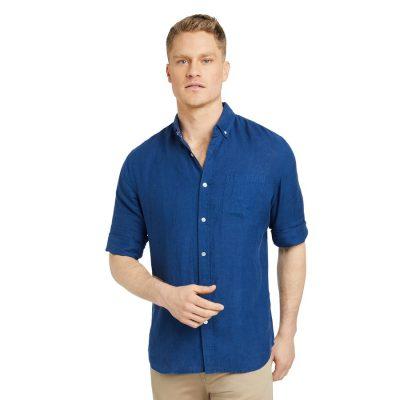 Fashion 4 Men - Tarocash Billy Pure Linen Shirt Cobalt Xs