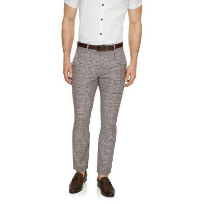 Fashion 4 Men - Tarocash Boston Slim Check Pant Natural 34