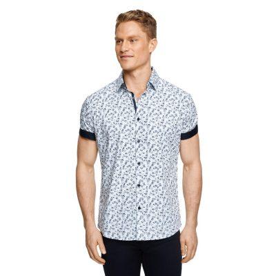 Fashion 4 Men - Tarocash Boxster Geo Print Shirt White Xl