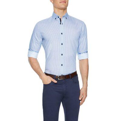 Fashion 4 Men - Tarocash Burnley Geo Print Shirt White Xxl
