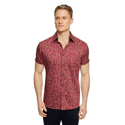 Fashion 4 Men - Tarocash California Floral Print Shirt Rust Xxxl