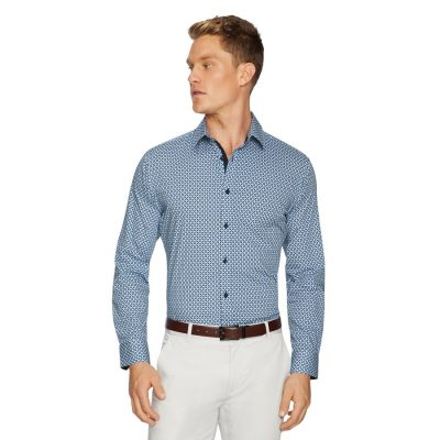 Fashion 4 Men - Tarocash Clifton Slim Stretch Geo Shirt Blue M
