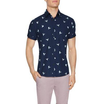 Fashion 4 Men - Tarocash Dove Print Shirt Navy Xxxl