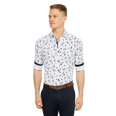 Fashion 4 Men - Tarocash Ellis Slim Floral Print Shirt White Xs