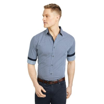 Fashion 4 Men - Tarocash Elray Slim Geo Print Shirt Navy L
