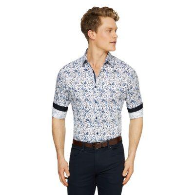 Fashion 4 Men - Tarocash Fitzroy Paisley Print Shirt White M