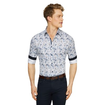 Fashion 4 Men - Tarocash Fitzroy Paisley Print Shirt White Xxl