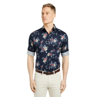 Fashion 4 Men - Tarocash Halpin Slim Stretch Floral Shirt Midnight Xl