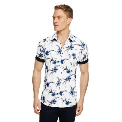 Fashion 4 Men - Tarocash Hercules Floral Print Shirt White S