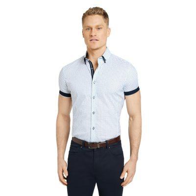 Fashion 4 Men - Tarocash Jac Muscle Stretch Geo Shirt White Xxl