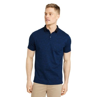 Fashion 4 Men - Tarocash Josh Paisley Print Polo Navy S