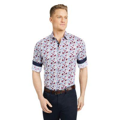 Fashion 4 Men - Tarocash Keppel Slim Stretch Floral Shirt Red M