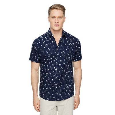 Fashion 4 Men - Tarocash Kokomo Palm Print Shirt Navy S