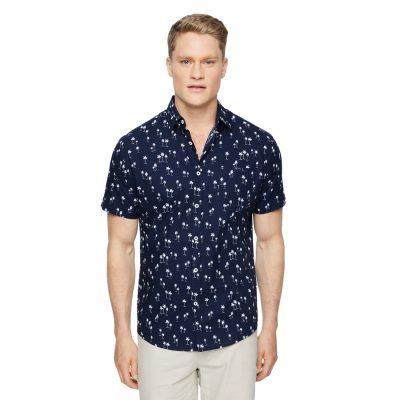 Fashion 4 Men - Tarocash Kokomo Palm Print Shirt Navy Xl