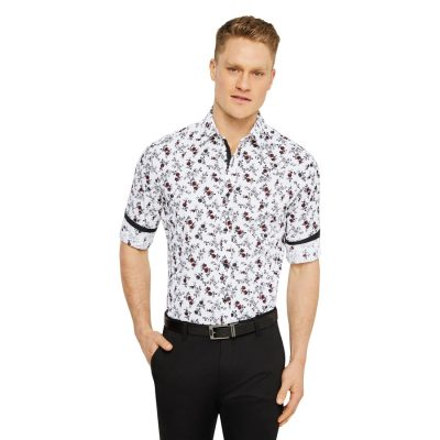 Fashion 4 Men - Tarocash Lockley Slim Floral Print Shirt White M